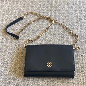 Tory Burch Black Robinson Wallet on Chain